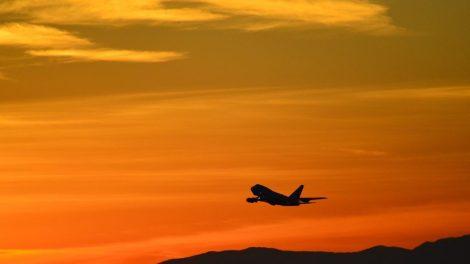 Αεροπλάνο, ηλιοβασίλεμα, πορτοκαλί - ταξίδι