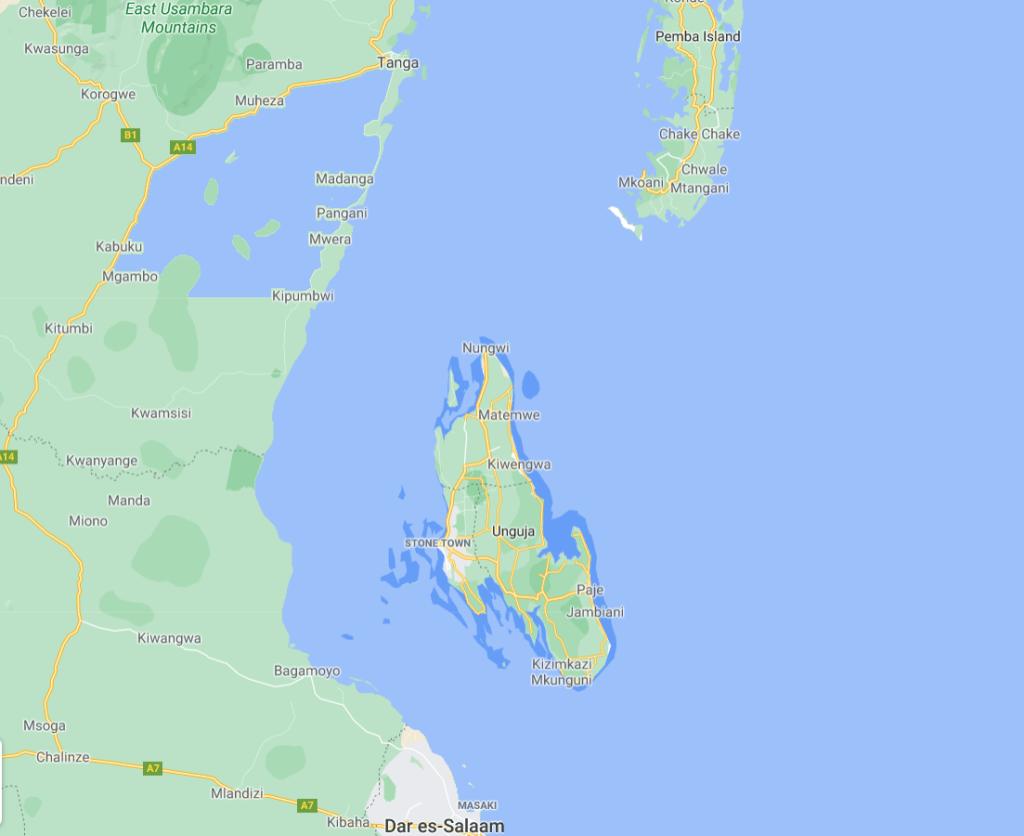 Zanzibar map - Unguja - Pemba - Tanzania - Dar es Salaam - Tanga - Det Indiske Ocean - Bagamoyo - rejser