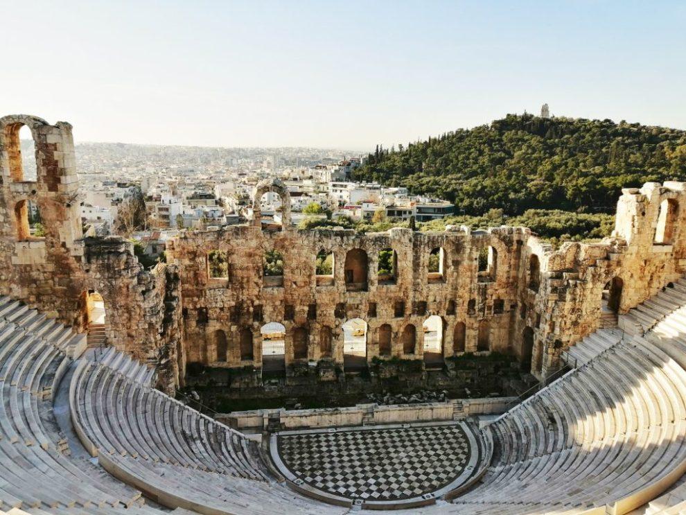 Athènes, Grèce, Acropole, théâtre grec, ruines, montagne, nature, ville, voyage