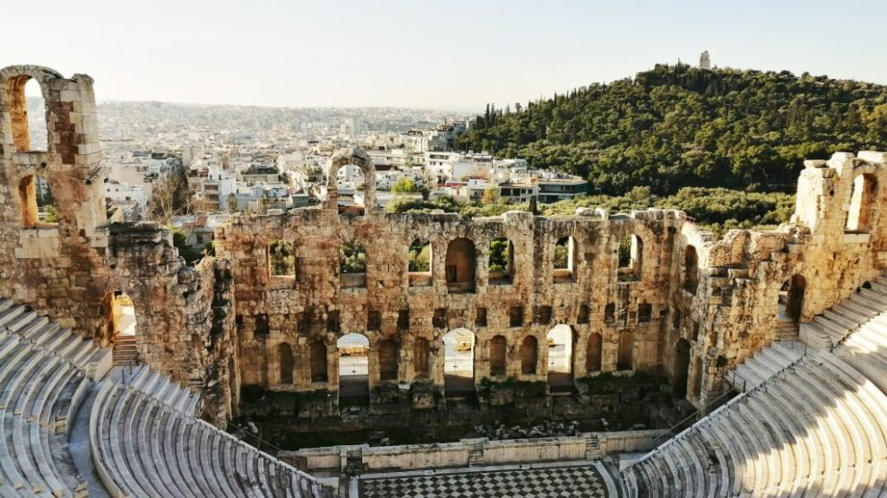 Athen, Hellas, Akropolis, Gresk teater, ruiner, fjell, natur, by, reise