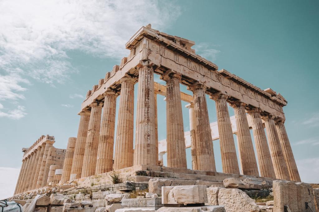 Grèce, acropole, Athènes, ruine, temple, piliers, voyage