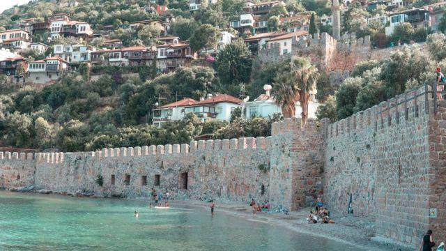 トルコ、アラニヤ、城壁、海、旅行