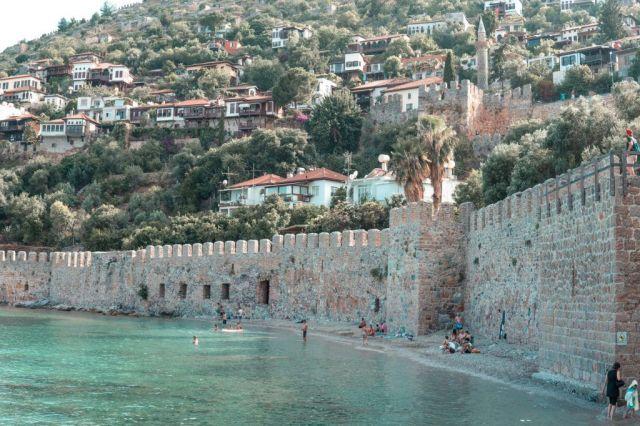 Turska, Alanya, gradski zid, more, putovanja