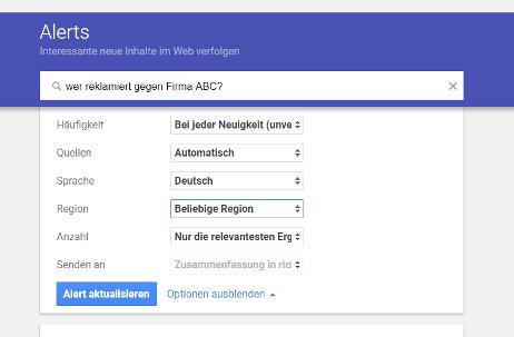 Mit Google-Alert können Sie unzufriedene Kunden sichten