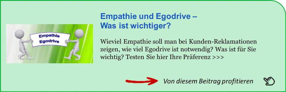 Hinweis auf Empathie und Egodrive wichtig bei der Reklamations-Behandlung