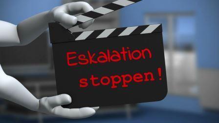 Ein Action-Button der auffordert Eskalationen im Ansatz gleich zu stoppen