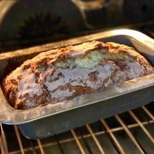 cinnamon banana bread in oven