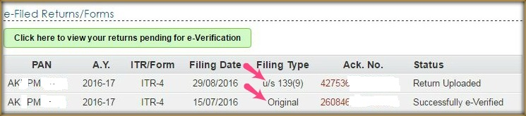 Original return revised return under section 139 9
