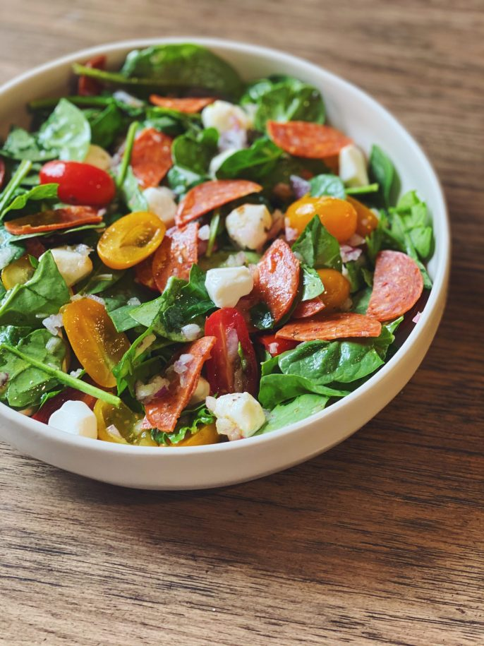 """Pizza"" Spinach Salad"
