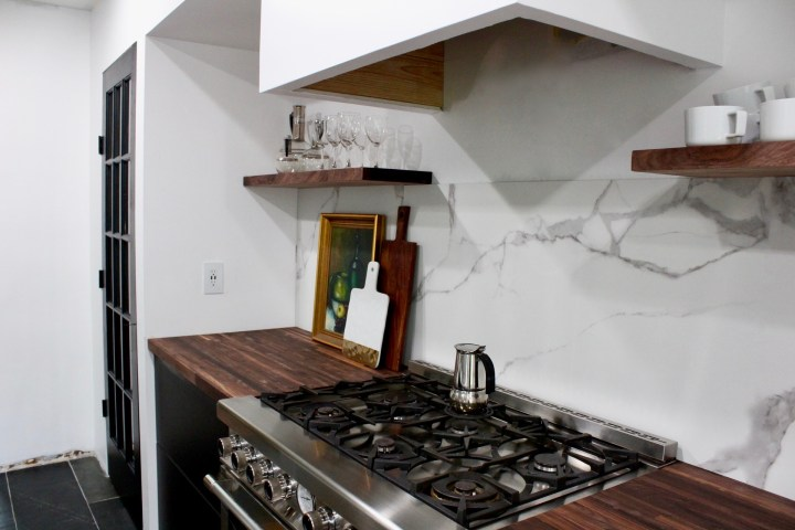 marble backsplash, Superiore range, black walnut butcher block