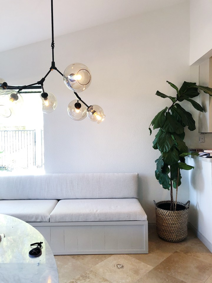 Dining Room nook, light fixture, bubble pendant. Homemade banquette. Fiddle Leaf Fig.