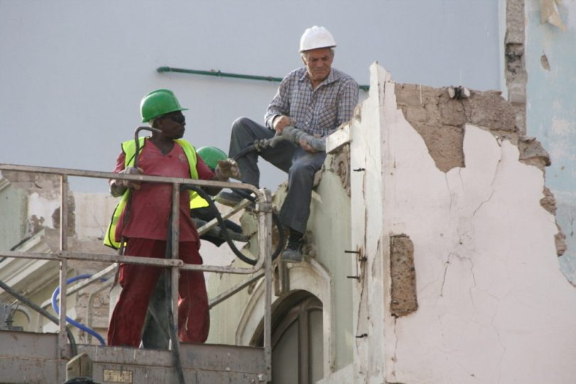 Men working at a site