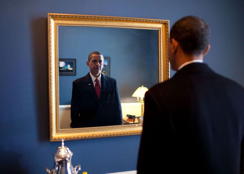 1024px Barack Obama takes one last look in the mirror before going out to take oath Jan. 20 2009 Facing the Real Enemy