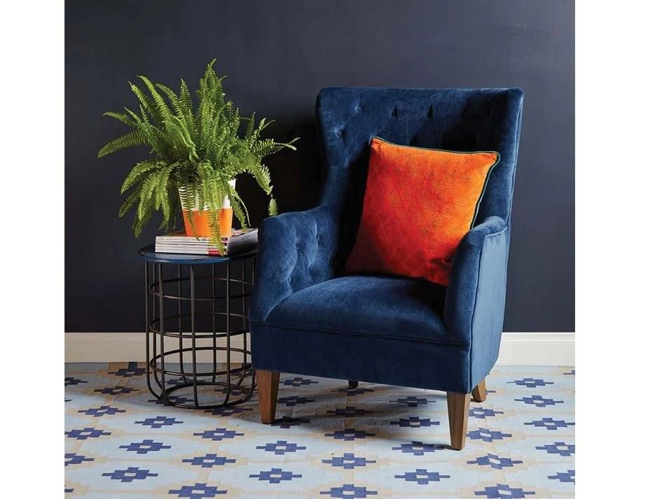 Navy Blue Velvet Upholstered Armchair