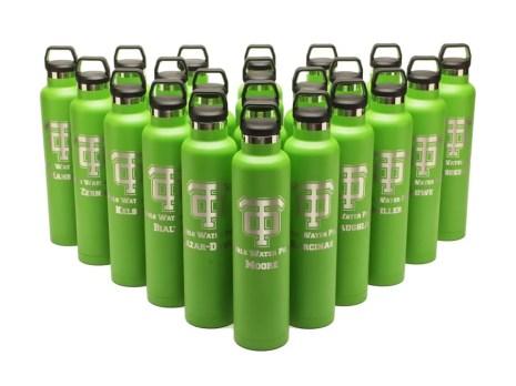 engraved RTIC 26oz water Bottles - green (RelayBatons.com)