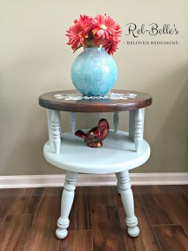 Round Two Tier Table with Stenciled Top