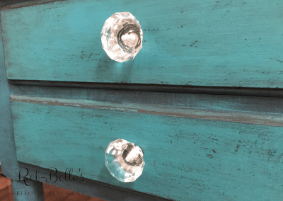 Turquoise drop-side end table