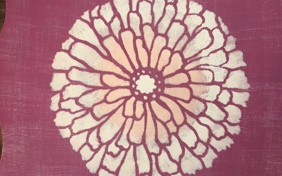 Stenciled Pretty in Pink Table