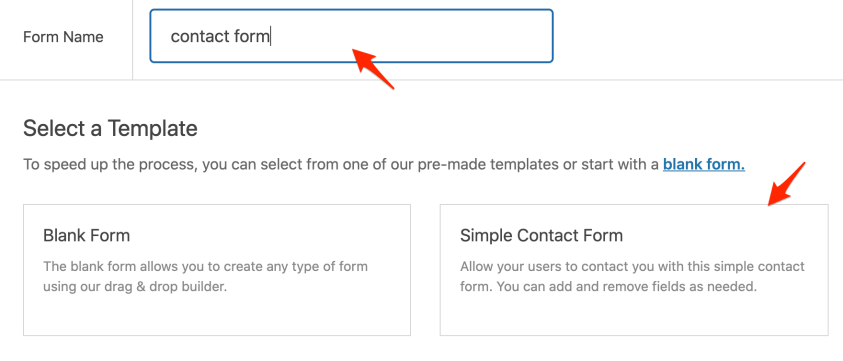 create new contact form.