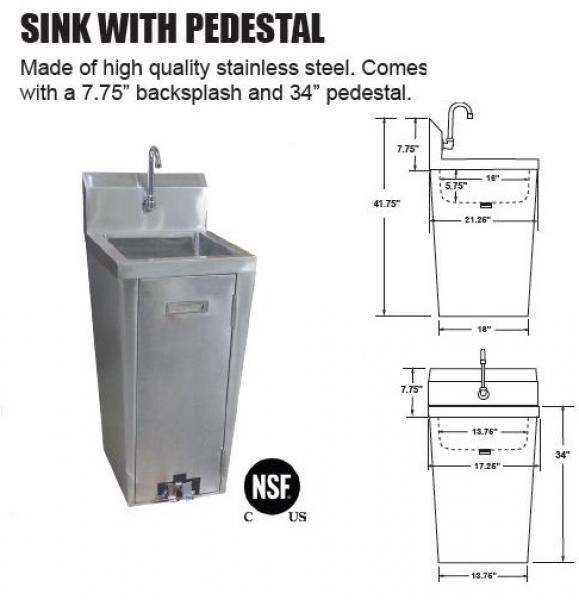 omcan nsf commercial stainless steel pedestal hand washing sink