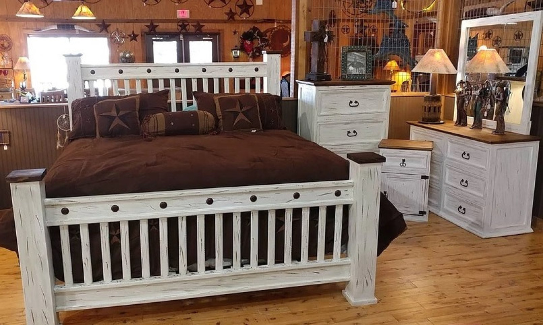 mission promo white distressed bedroom suite
