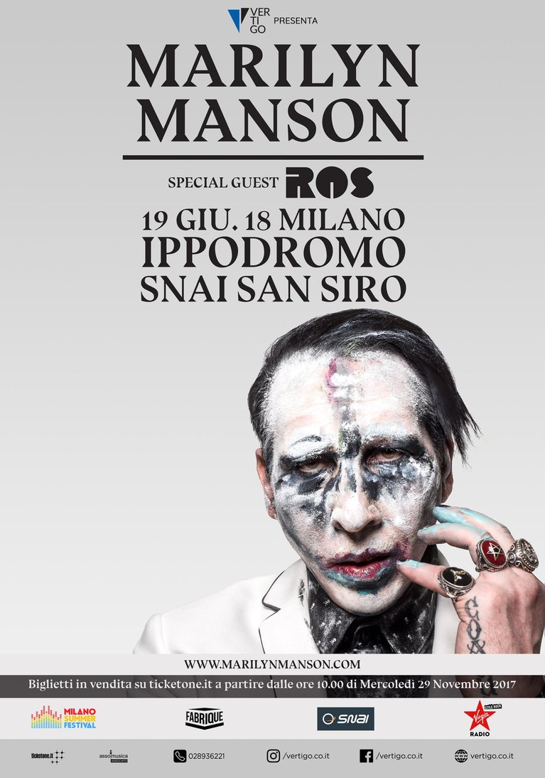 ROS: apriranno lo show di Marilyn Manson del 19 giugno all'Ippodromo Snai San Siro di MILANO!