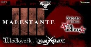 Malestante, Clockwork, Cocaine Kamikaze @Arci Bellezza Sabato 15 Febbraio