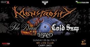Monstrosity: una data a Carpi insieme a The Devil, Cold Snap e 5Rand