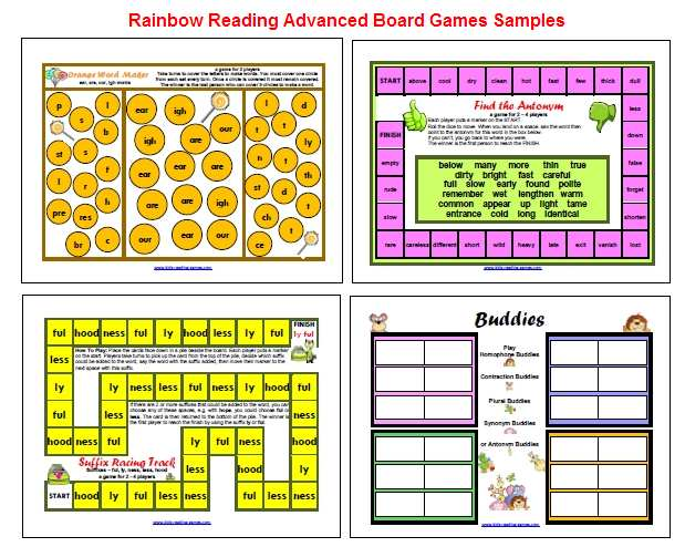 Teaching resources Rainbow Reading Games Sample