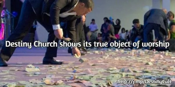 Destiny Church worships money