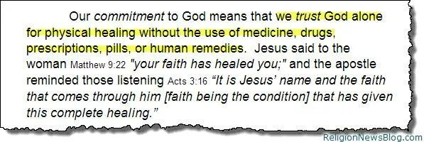 First Century Gospel Church shuns doctors and medicines