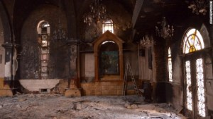 Church destroyed in Aleppo, Syria by Sunni rebels associated with the Free Syrian Army