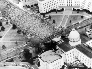 March 25, 1965 - March from Selma to Montgomery ends in front of Alabama state capitol