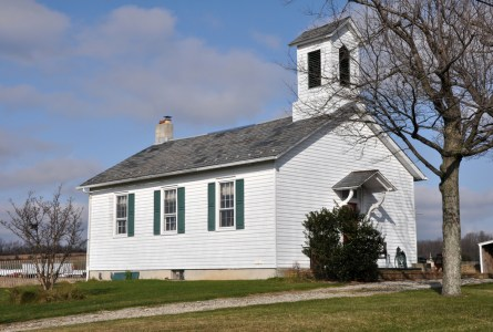 Small old white church in the country
