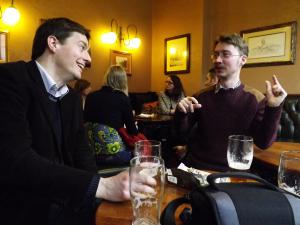 David with conference organizer Tim Hutchings enjoying a well-earned pint at the Swan and Three Cygnets