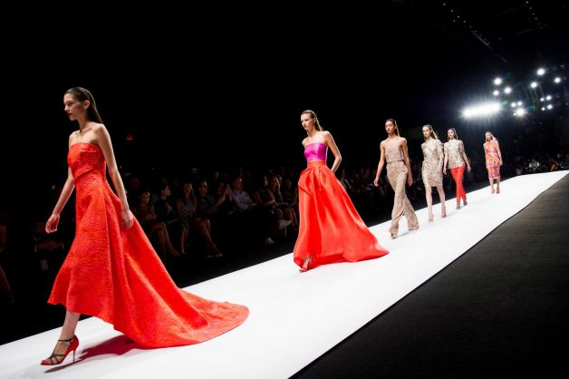 Monique Lhullier's color blocking on these vibrant gowns is stunning. It looks like color blocking is a trend that will continue to resonate in Spring 2014.