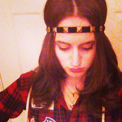 The final product: A Studded Suede headband.  Find out how to make one of your own below.