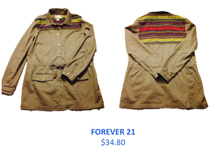 I love this olive-green southwestern-inspired jacket from Forever 21 and I like the $34.80 price tag just as much. The color is great for the fall and goes with just about everything.  The material is well-made and strong. The jacket runs a bit on the larger side but it's ideal for layering. The drawstring-tie waist helps to take away from the over-sized look, which is a huge bonus. Pair this jacket with different colored leggings or skinny jeans and a pair of boots and you are ready to go.