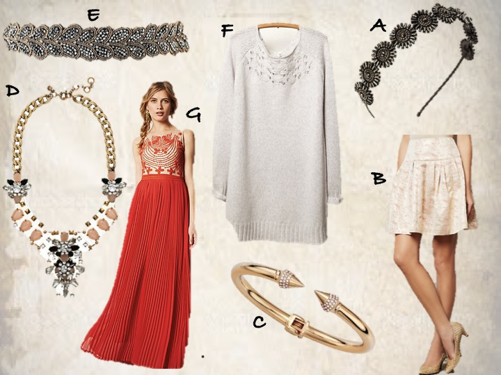 A) Anthropologie Jeweled Headband B) Anthroplogie Sugarplum Skirt C) Vita Fede Bracelet D) JCrew Jeweled Necklace E) Anthropologie Belt F) Anthropologie Pullover Sweater  G) Anthropologie Rubied Dusk Dress