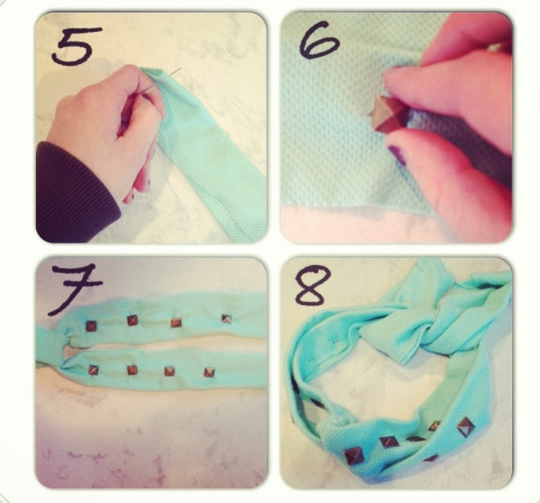"5.) Sew down the long side of the raw edges of your material. You will end up with four ""tubes."" 6.) Next, it's time to add studs to your headband. Push the prongs of each stud through the fabric and once they've gone through, bend them down so they are now lying flat. This will help the studs stay secure. 7.) I put 4 studs on each ""tube,"" but feel free to place as many as you want depending on the look you are going for. 8.) Place the headband on your head and tie it using the extra fabric behind your head."