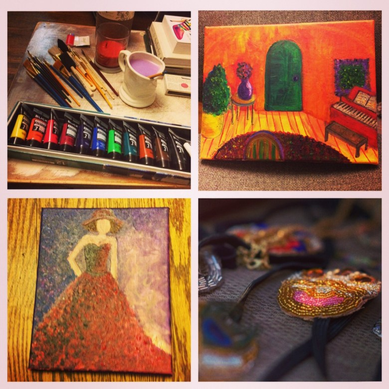 Here are some other crafty paintings and projects I've been working on during the holiday season.