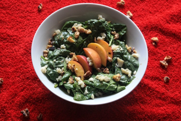 Balsamic Peach Spinach salad