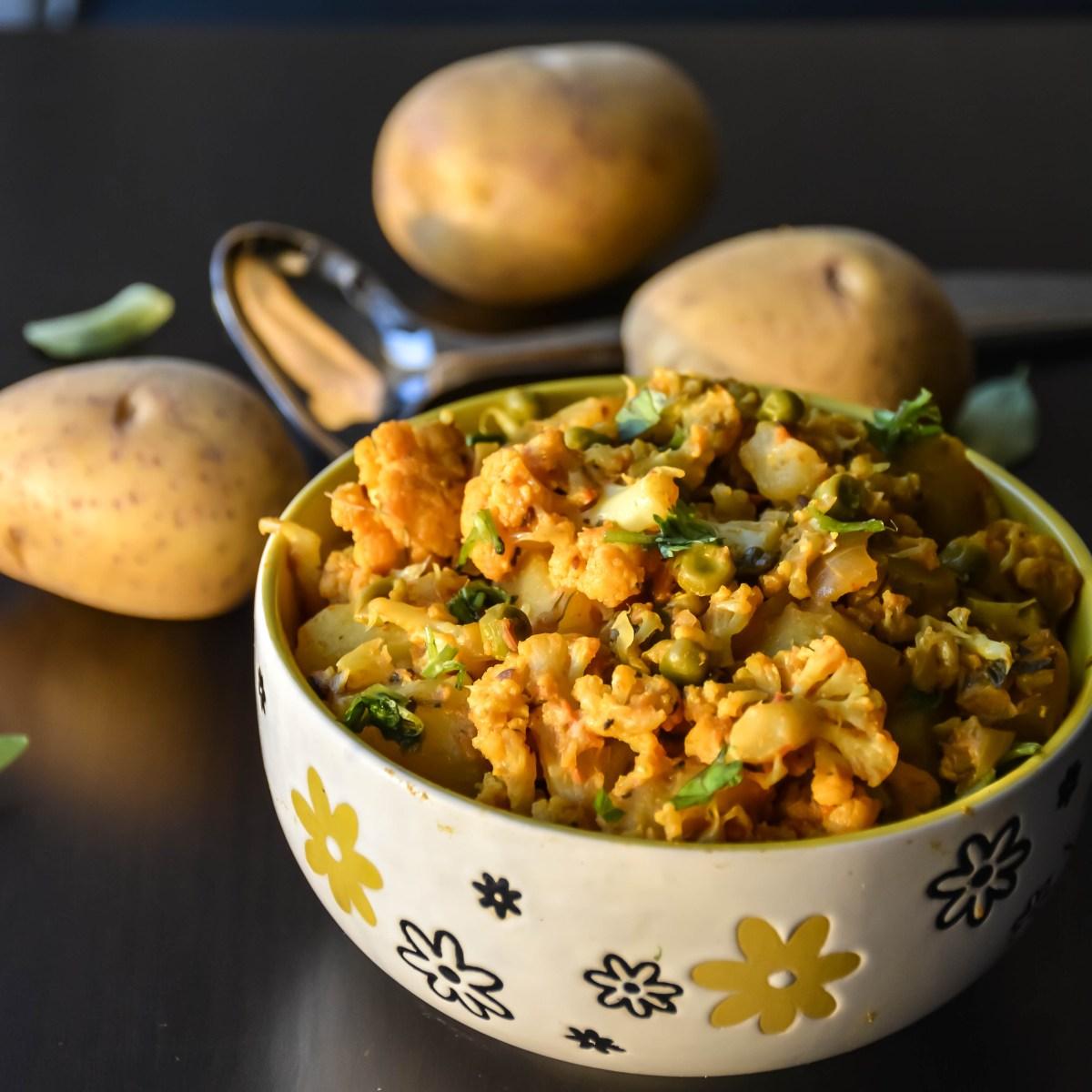 Cauliflower Potato Peas Masala / Aloo Gobi Matar Masala ...