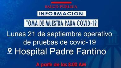 Photo of Este lunes 21 de septiembre tendremos un operativo de pruebas de covid-19 en el Hospital Padre Fantino de Montecristi