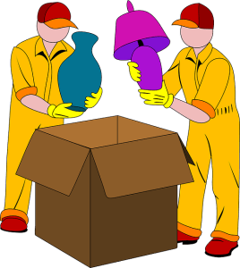 movers packing lamps