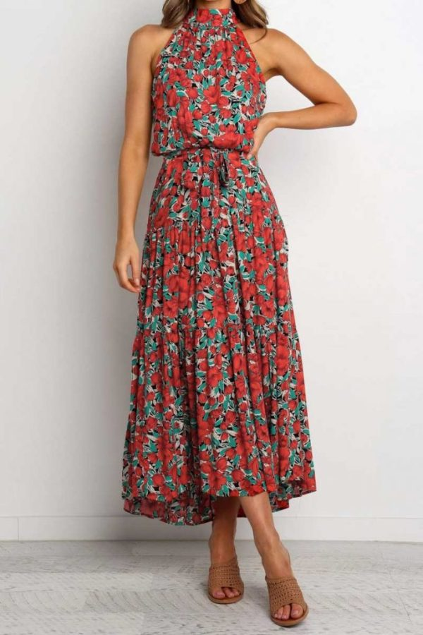 New stylish sleeveless floral batch printing waisted pleated dress
