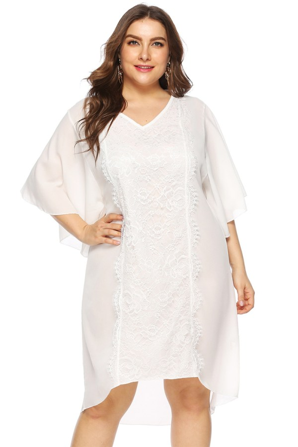 Plus size new stylish flare sleeve irregular micro elastic loose lace spliced chiffon dress