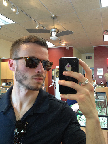 Self-model of Oliver Peoples Bernardo sunglasses at the Optic Shop in Tampa
