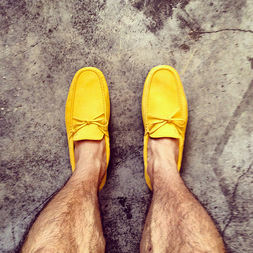 Tod's suede boat shoe-driver hybrid, bright canary