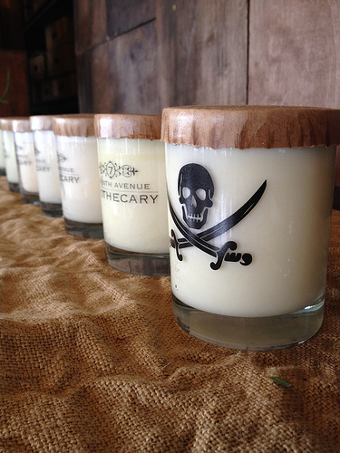 Candle lineup, starting with the Gasparilla scent